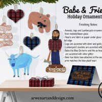 Babe and Friends Holiday Ornament Set by Arwen Edsall