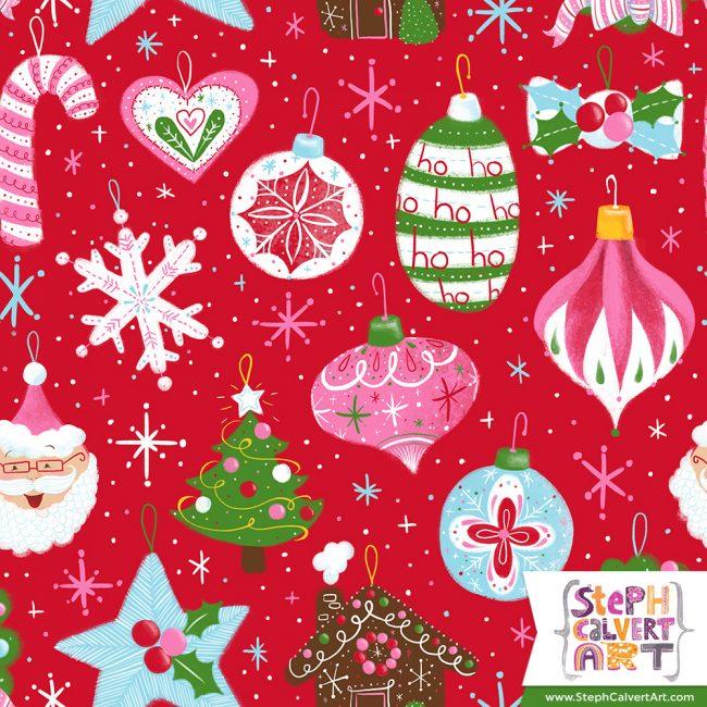 Happy Christmas Ornaments illustration by Steph Calvert Art | https://stephcalvertart.com